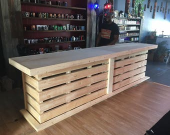 Whoadie 1.5 12' - Unfinished Shabby Chic Rustic Barn Wood Style, Pallet Style bar