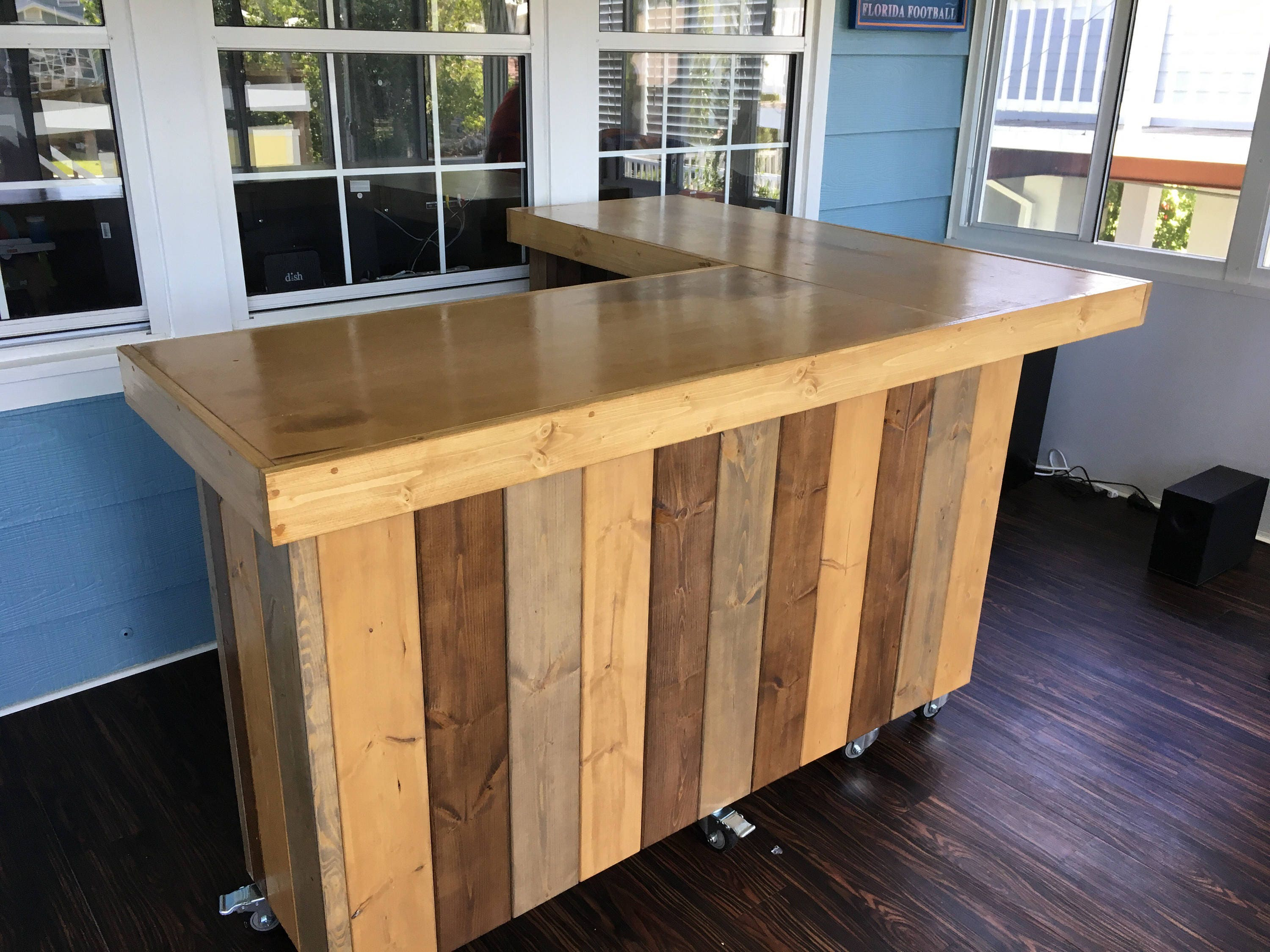 The L Shaped Maggie Rustic Barn Wood Style Bar Sales