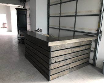 Hello Elyse .75 L Shaped Cinder - 6.5' wide by 5.5' Pallet style  2 level Rustic reception desk,  stained and polyurethaned