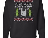 heavy metal ugly christmas sweater sweat shirt - Metal Christmas Sweater