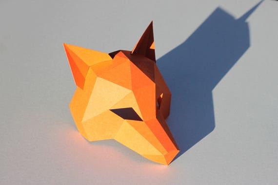 New Year Fox Mask Pdf Instantdownload Half Head Mask Etsy