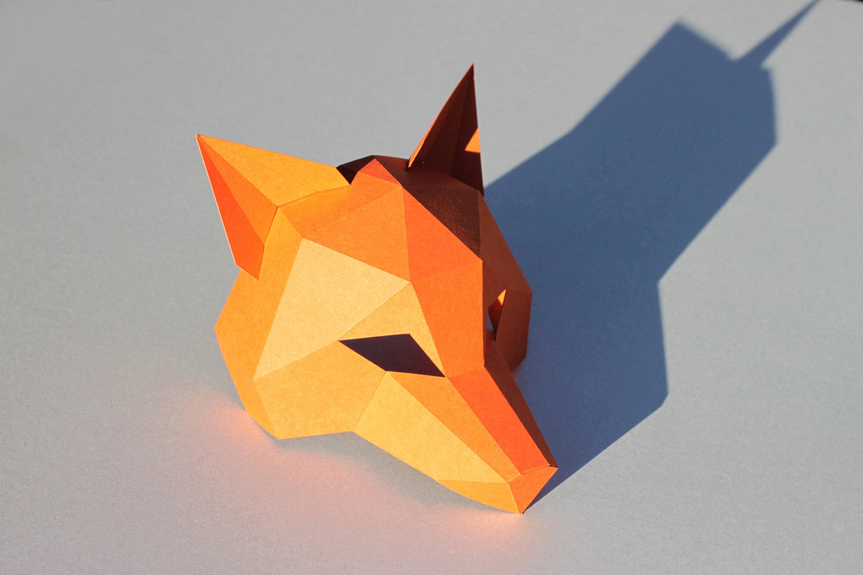 New Year Fox Mask PDF Instant Download Half Head
