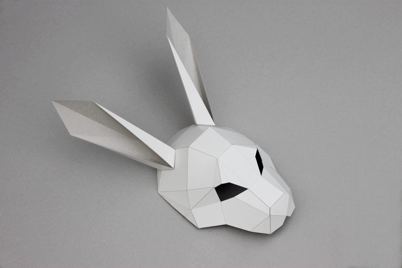 New Year Mask PDF Instant Download Rabbit Half Head