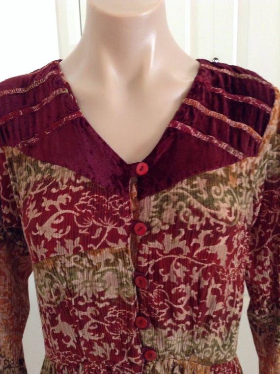 Vintage Phool Dress Velvet Patchwork Gypsy Floaty