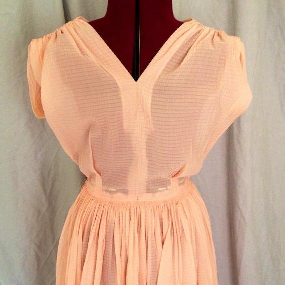 Vintage 1950s Peachy Seersucker Dress Rockabilly S