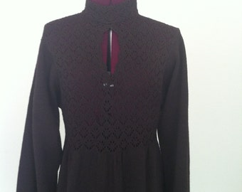 Vintage 70s  knit maxi dress size 8