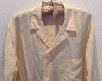 Vintage Mens Silk Pajamas Saks Fifth Ave. 1940s Large Rare Hollywood