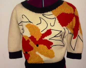 Vintage 1960s Sweater Pin up Crop Top Bombshell