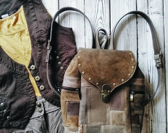 """Leather backpack in boho style """"Summer day"""" grey-brown"""