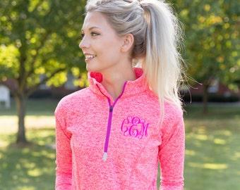 Monogram Workout Quarter Zip | Personalized Fleece Exercise Popover | Multiple Colors
