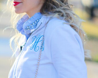 Monogram Full Zip Up Jacket | Charles River Personalized Full-Zip Sweatshirt | Multiple Colors