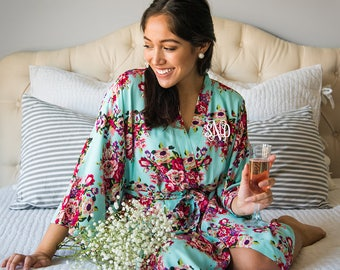Bridesmaid Robes Cotton Rayon -Robes for Bridesmaids- Floral Bridesmaids Robes - Kimono Bridesmaids Robes - Bridesmaid Gift - Cotton Robe