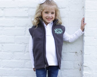Youth Monogrammed Vest   Girls Fleece Vest   Personalized Fleece Vest