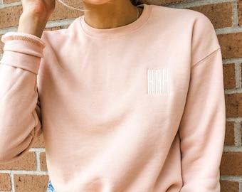 Monogrammed or Personalized Super Soft Crew Neck Sweatshirt | Monogram Pullover Sweatshirt, Gameday or Back to School  | Drop Shoulder