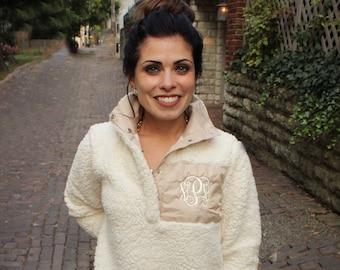 SALE!   Monogrammed Fleece Sherpa Pullover   Personalized Sherpa Sweatshirt   Monogrammed Sherpa Fleece   Monogrammed Fur Sweater