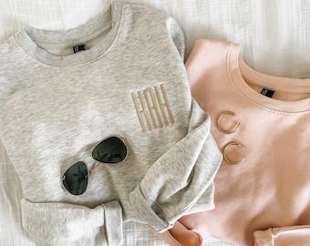 Monogrammed Crewneck Sweatshirt | Personalized Crew Neck Pullover | Embroidered Sweatshirt | Multiple Colors