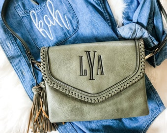 Monogrammed Whipstitch Crossbody Purse | Personalized Shoulder Bag | Embroidered Monogram Purse | Gift for Her