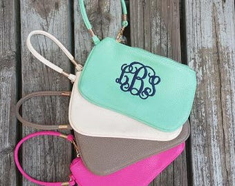 Monogrammed Wristlet Wallet   Monogrammed Clutch   Faux Leather Wristlet Clutch   Bridesmaid Gifts   Gifts for Her   Personalized Wristlet