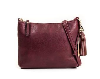 Monogram Crossbody Bag with Tassel Zipper   Monogrammed Cross Body Purse   Gift for Her