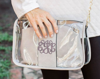 Monogrammed Clear Stadium Bag with Removable Interior Pouch | Monogrammed Stadium Purse | Gameday Purse | 2 in 1 Crossbody