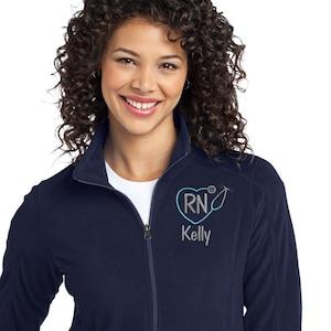 Monogrammed Nurse Full Zippered Fleece Personalized Nurse Fleece Jacket Personalized Ladies NurseDoctor Heart Stethoscope