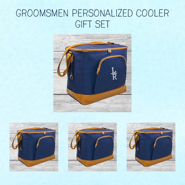 Personalized Cooler Bag with Bottle Opener | Monogrammed Men's Insulated Soft Cooler | Groomsmen Gift Set | Gift for Him