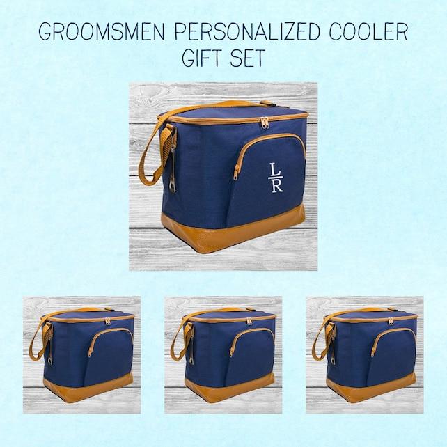Personalized Cooler Bag with Bottle Opener | Monogrammed Men's Insulated Soft Cooler | Groomsmen Gift Set | Gift for Him