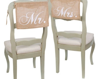 Mr. & Mrs. Burlap Chair Hangings | Wedding Chair Signs