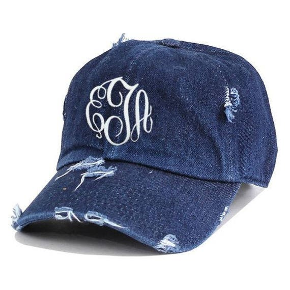 Monogrammed Personalized Initial Baseball Caps Dark Navy