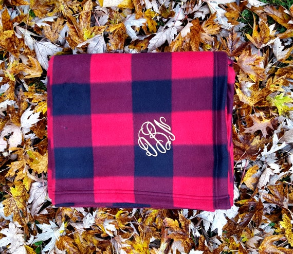 Red Plaid Carolers 18: Monogrammed Buffalo Plaid Blanket Green Or Red Plaid