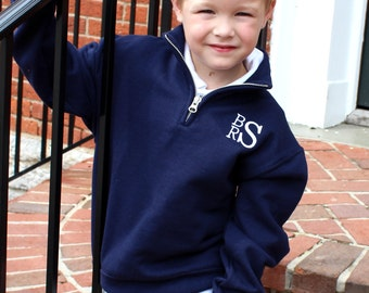 Childrens Youth Monogrammed Quarter Zip Pullover