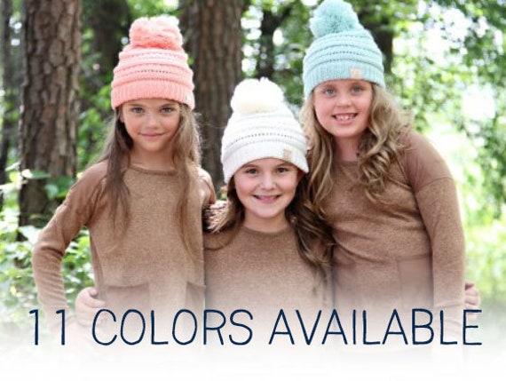 Youth Pom CC Beanie Pom Knit Beanie Kids Hat Crochet  71ae9d5fc919