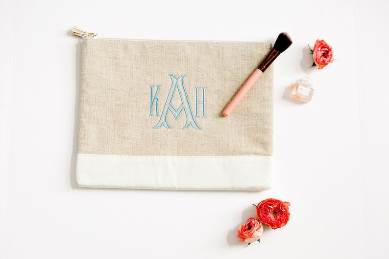 Monogrammed Linen Cosmetic Pouch With Zip Closure and A Wide Range Of Colors