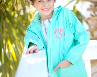 Monogrammed Youth Girls Mint Full-Zip Hooded Rain Jacket Coat | Multiple Colors