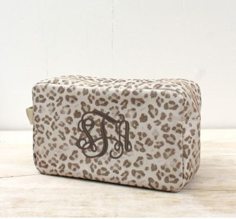 663cf340546c Monogrammed Leopard Cosmetic Pouch Personalized Leopard