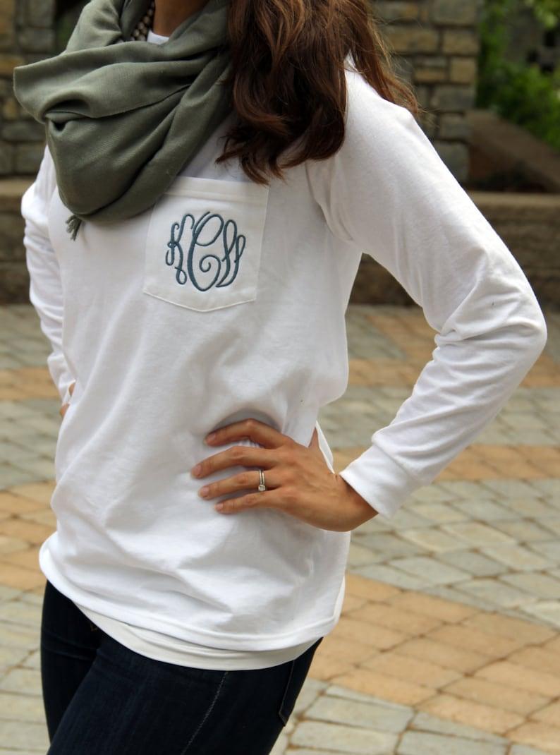 9c7494e2fd8 Monogram Long Sleeve Pocket Tee Shirt