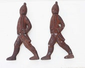 Pair of Antique Figural Cast Iron Fireplace Andirons Soldiers - Seen in Country Living September 2016