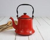 Vintage Enamelware Coffee Pot, Red Enamel Ware, Farmhouse, Vintage Camping