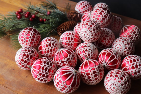 Vintage Crochet Covered Christmas Ornaments, Crochet Covered Red Satin Balls, Vintage Christmas ~ 18 Available