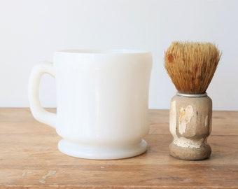 Vintage Milk Glass Shave Mug with Shave Brush, Vintage Shaving Mug, Barber Gift, Chippy Shave Brush, Gift for Dad