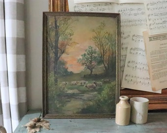 Antique Framed Oil Painting, Sheep Grazing Oil Painting, Landscape Painting, Original Art, Unframed Art, Unsigned