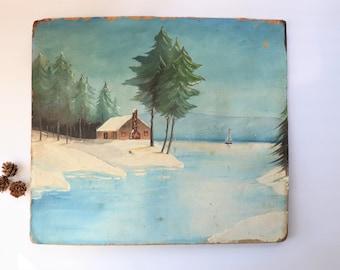Vintage Landscape Oil Painting on Board, Winter Scene Art, Original Art,