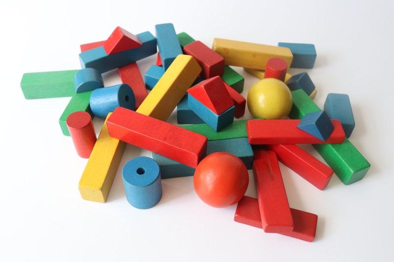 Vintage Playskool Wooden Building Blocks 38 Blocks Assorted Colors