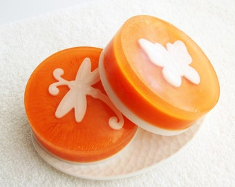 Butterfly Soap, Dragonfly Gift Set, Glycerin Melt and Pour, Orange and White, Unique Bath Decor, Palm Free, Vegan, Party Favors, Scented