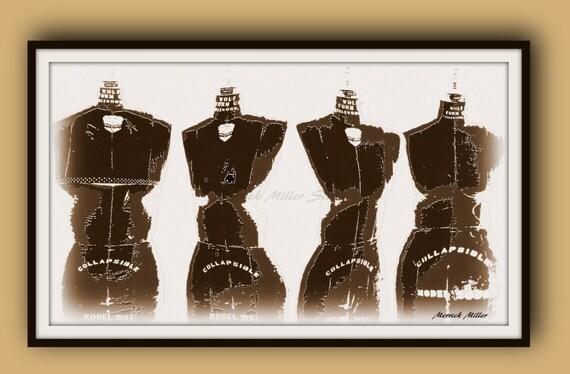 Shape Up 11x14 Print Model Muse Fashion Form Sepia White Etsy