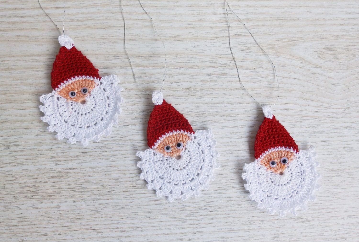 Crochet Santa Claus Face Crochet Christmas Ornament Set Of 3 Etsy
