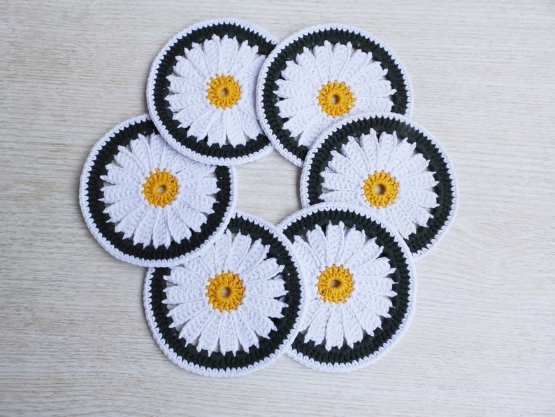 6 Crochet Flowers Cup Pads Coasters Set Crochet Daisy Table image 0