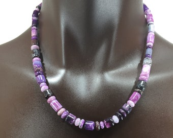 Rare Sugilite Necklace With Sterling Silver clasp/20 Inches
