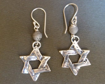 Sterling Silver Star of David Hand-carved Earrings