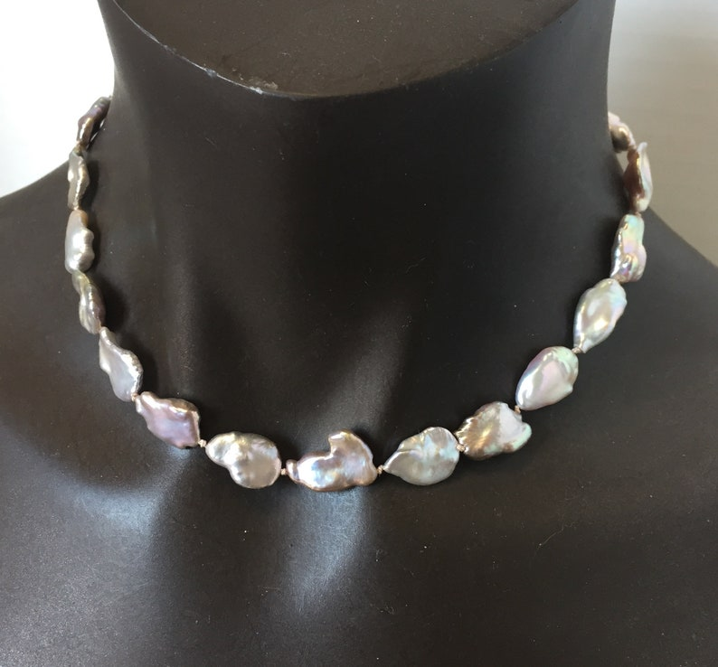 White Keshi Pearl NecklaceBridal GiftMother of the Bride17.5 inches